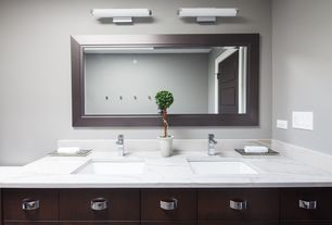 Contemporary Full Bathroom with Flush, Undermount sink, specialty door, Travertine counters, Double sink, European Cabinets