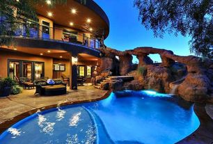 Rustic Swimming Pool with Fountain, exterior stone floors, Pathway