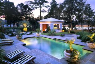 Contemporary Swimming Pool with Gazebo, exterior stone floors, Pathway, Outdoor kitchen, Fence