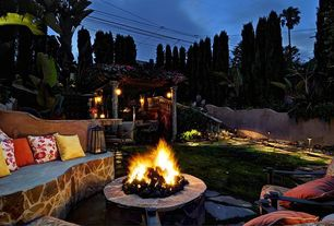 Eclectic Patio with Pathway, Fire pit, Fence, exterior stone floors, Pottery Barn Sunbrella Solid Indoor/Outdoor Pillow