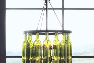 "Contemporary Dining Room with 18"" Bordeaux Wine Bottle Chandelier"