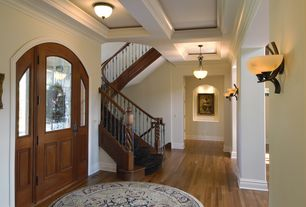 Traditional Entryway with Maple - hazelnut 2 1/4 in. solid hardwood strip, Hardwood floors, Box ceiling, flush light, Paint