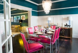 Art Deco Dining Room with Six Chrome Frame Milo Baughman Dining Chairs in Pink Ultra Suede Fabric, Hardwood floors