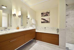 Contemporary Master Bathroom with Shower, Paint, Master bathroom, specialty door, Complex Marble, frameless showerdoor