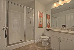 Contemporary 3/4 Bathroom with Shower, three quarter bath, Undermount sink, Limestone counters, specialty door, Limestone