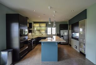 Contemporary Kitchen with Flush, European Cabinets, Ceramic Tile, Silestone- Quartz Countertop in Lagoon, Kitchen island