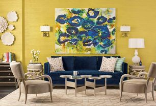 Contemporary Living Room with Carpet, Jonathan Adler Butterfield Sofa, Burlap Print Rectangular Shade Wall Sconce, Paint 1