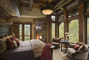 Rustic Master Bedroom with Carpet, Kathy Kuo Home - Rue du Bac French Country Natural Linen Feather Down Arm Chair