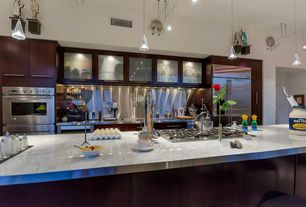 Contemporary Kitchen with Undermount sink, Stainless Steel, Eglo- 1-light mini pendant, double wall oven, Kitchen island