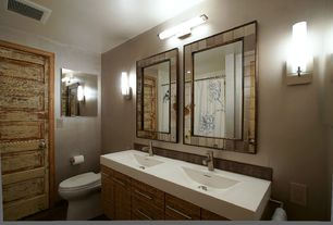 Eclectic Full Bathroom with Stone Tile, Limestone Tile, Wall sconce, Limestone counters, limestone floors, Flush, Double sink