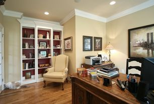 Traditional Home Office with Window seat, Built-in bookshelf, Hardwood floors, French doors