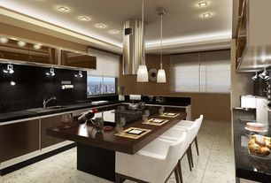 Contemporary Kitchen with Wood counters, flush light, Flush, Simple Granite, Simple granite counters, Pendant light, U-shaped