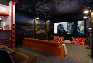Eclectic Home Theater with Wall sconce, Jonathan Adler Templeton Apartment Sofa In Stockholm Saffron, interior wallpaper