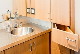 Modern 3/4 Bathroom with European Cabinets, Standard height, drop-in sink, Stainless steel counters, three quarter bath