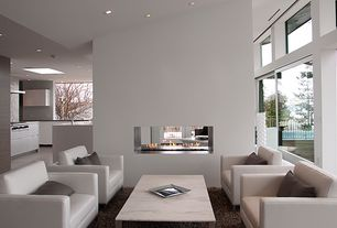 Contemporary Living Room with Concrete floors, insert fireplace, Fireplace, Paint 1, can lights, High ceiling, picture window