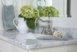 Traditional Master Bathroom with Towel, Marble vanity top, Fontaine bellver brushed nickel widespread bathroom faucet, Paint