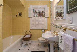 Traditional Full Bathroom with Pedestal sink, Flush, Wainscotting, Built-in bookshelf, tiled wall showerbath, Crown molding