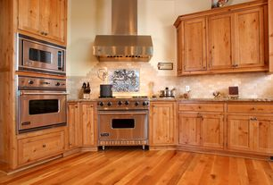 Country Kitchen with Emser tile natural stone tumbled travertine offset mosaic, Paint 1, Antique fireplace backs