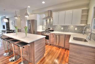 Contemporary Kitchen with specialty door, European Cabinets, Flush, full backsplash, Corian counters, Undermount sink
