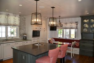 Traditional Kitchen with Breakfast bar, Raised panel, full backsplash, Pendant light, Framed Partial Panel, can lights