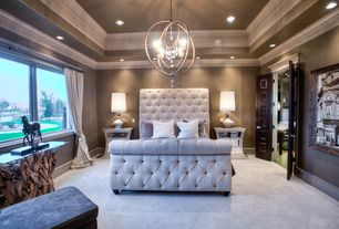 Eclectic Master Bedroom with Uttermost Teak Wood and Glass Console Table, Chandelier, High ceiling, Crown molding, Carpet