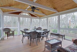Eclectic Porch with Transom window, Fence, Arched window, Screened porch