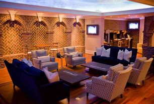 Contemporary Basement with Hardwood floors, Carolina Cottage Otto Pub Table Set, Pac-Man's Arcade Party Cabaret by Namco