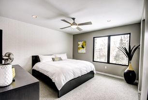 Contemporary Master Bedroom with flush light, West Elm Hive Vases, Ikea malm bed frame, Ceiling fan, Carpet