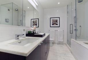 "Contemporary Master Bathroom with Handheld showerhead, Kohler Verdera 15"" x 30"" Recessed Medicine Cabinet, Master bathroom"