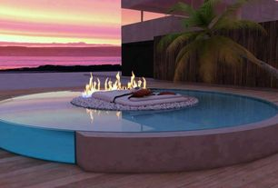 Contemporary Swimming Pool with Fence, Fire pit
