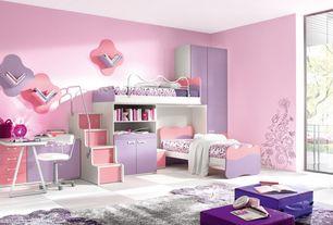 Kids Bedroom with Mural, Art desk, Standard height, no bedroom feature, Built-in bookshelf, picture window, Concrete floors