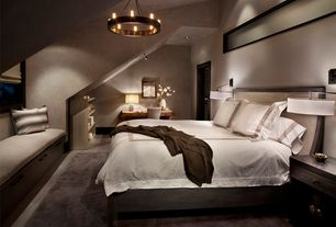 Contemporary Master Bedroom with Window seat, flush light, Restoration Hardware Oversized Bed Throw, Hardwood floors