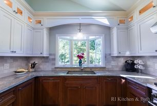 Traditional Kitchen with Wall Hood, Flat panel cabinets, Undermount sink, Simple granite counters, High ceiling, U-shaped