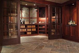 Craftsman Wine Cellar with Interlocking Pavers, Standard height, Built-in bookshelf, interior brick, French doors, can lights