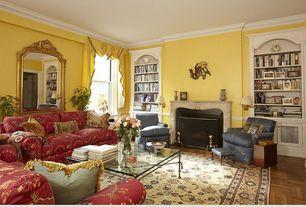 Traditional Living Room with Built-in bookshelf, Czar Floors Model: M4 Parquet, Crown molding, Hardwood floors, Chair rail