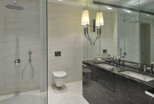 Contemporary 3/4 Bathroom with frameless showerdoor, complex marble tile floors, Double sink, Undermount sink, Rain shower