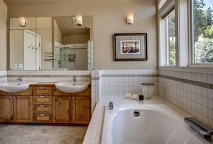 Master Bathroom with Double sink, Flat panel cabinets, Farmhouse sink, Handheld showerhead, Wall sconce, specialty door