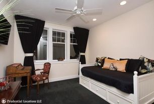Traditional Guest Bedroom with Ceiling fan, Carpet, Leggett And Platt Casey Daybed