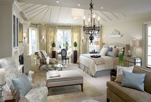 Traditional Master Bedroom with Pendant light, can lights, Carpet, Chandelier, Crown molding, Standard height, Casement