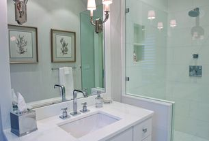 Modern 3/4 Bathroom with Undermount sink, US Marble White Cultured Marble, Custom Glass Shower Enclosure, European Cabinets
