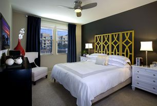 Contemporary Master Bedroom with Ceiling fan, Carpet