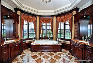 Traditional Master Bathroom with Framed Partial Panel, Undermount sink, Glass panel, High ceiling, Chandelier, Raised panel