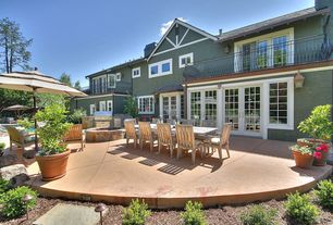 Traditional Patio with Fence, French doors, Pathway, Raised beds, Casement, picture window, Deck Railing, Fire pit