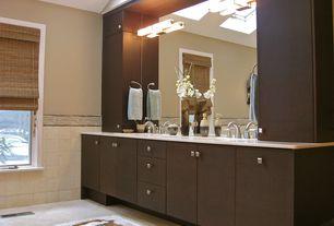 Contemporary Master Bathroom with Dura Supreme Cabinetry Moda Horizontal Veneer, Skylights, Dual sinks, Roman shades