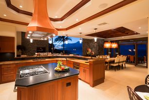 Tropical Kitchen with European Cabinets, 38-bottle stainless steel wine refrigerator, Vent A Hood - JDIH/C2 Designer Series