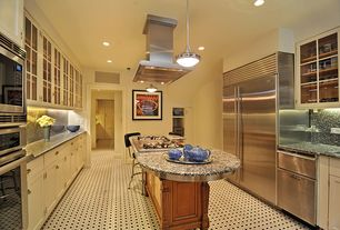 Traditional Kitchen with Kitchen island, can lights, Flat panel cabinets, Glass panel, European Cabinets, double dishwasher