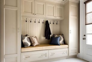 Cottage Hallway with Glass panel door, Carpet, High ceiling, Neutral Damask Medallions Throw Pillow, Built-in bookshelf