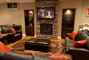 Rustic Basement with Homelegance Contemporary Storage Ottoman/Bench with 2 Flip-Top Tray Inserts, Hardwood floors