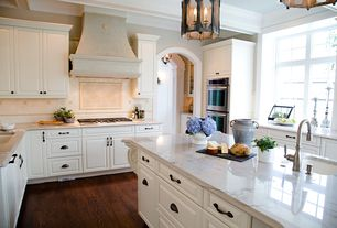 Traditional Kitchen with Undermount sink, Savoy House Penrose 6 Light Medium Foyer Lantern, Kitchen island, Pendant light