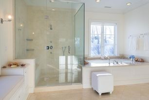 Traditional Master Bathroom with Inset cabinets, Handheld showerhead, Crown molding, Raised panel, Wall sconce